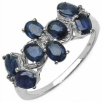 2.03CTW Blue Sapphire & White Topaz .925 Sterling Silver Rin