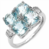 4.00CTW Natural Blue Topaz .925 Sterling Silver Ring
