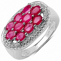 2.60CTW Genuine Glass Filled Ruby .925 Sterling Silver Ring