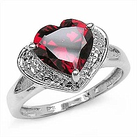 4.48CTW Genuine Red Cubic Zircon .925 Sterling Silver Ring