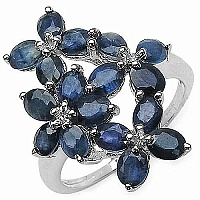 4.25CTW Genuine Blue Sapphire .925 Sterling Silver Ring