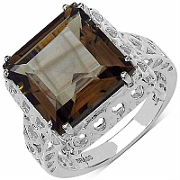 7.35CTW Genuine Smoky Topaz Rhodium Plated Brass Ring