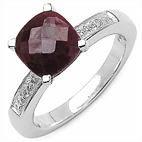 3.70CTW Dyed Ruby & White Topaz .925 Sterling Silver Ring