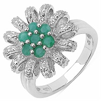 0.47CTW Round Emerald .925 Sterling Silver Ring