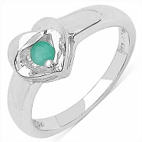 0.10CTW Genuine Emerald Round Shape .925 Sterling Silver Rin