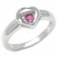 0.12CTW Round Shape Ruby .925 Sterling Silver Ring