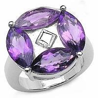 5.40CTW Genuine Amethyst .925 Sterling Silver Ring