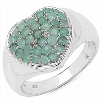 1.21CTW Genuine Emerald .925 Sterling Silver Ring