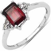 1.32CTW Genuine Garnet & White Topaz .925 Sterling Silver So