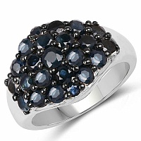 3.53CTW Genuine Blue sapphire .925 Sterling Silver Ring