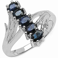 1.25CTW Genuine Blue Sapphire .925 Sterling Silver Ring
