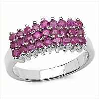 1.08CTW Genuine Ruby .925 Sterling Silver Ring