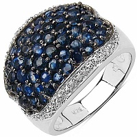 2.82CTW Genuine Blue Sapphire .925 Sterling Silver Cluster R