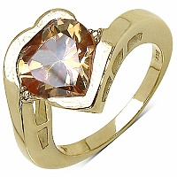 5.82CTW Champagne Cubic Zirconia 14K Yellow Gold Plated Brass H