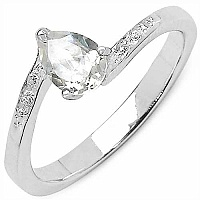 0.87CTW Genuine White Cubic Zircon .925 Sterling Silver Ring