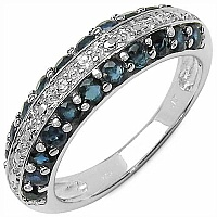 1.14CTW Genuine Blue Sapphire & White Topaz .925 Sterling Si