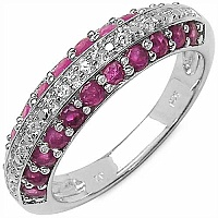 1.14CTW Genuine Ruby & White Topaz .925 Sterling Silver Ring