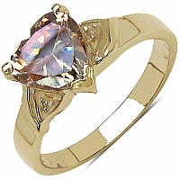 3.02CTW Champagne Cubic Zirconia 14K Yellow Gold Plated Brass H
