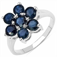 2.45CTW Genuine Blue Sapphire .925 Sterling Silver Ring