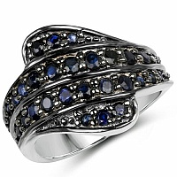 1.56CTW Genuine Blue Sapphire .925 Sterling Silver Ring