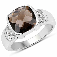 2.52CTW Genuine Smoky Topaz & White Topaz .925 Sterling Silver
