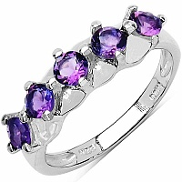 0.75CTW Genuine Amethyst .925 Sterling Silver 5 Stone Ring