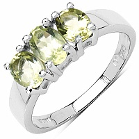 1.18CTW Genuine Lemon Topaz .925 Sterling Silver 3 Stone Rin