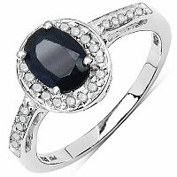 1.14CTW Genuine Blue Sapphire & White Diamond .925 Sterling