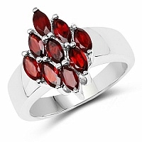 1.35CTW Genuine Garnet Marquise .925 Sterling Silver Ring