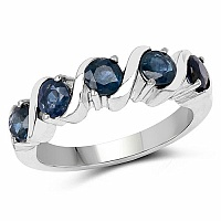 1.75CTW Genuine Blue Sapphire .925 Sterling Silver Ring