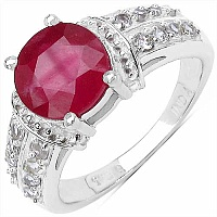 3.58CTW Genuine Glass Filled Ruby & White Cubic Zircon .925