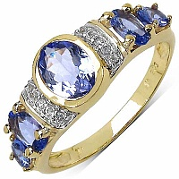 1.62CTW Genuine Tanzanite & White Topaz 14K Yellow Gold Plat