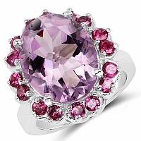 9.27CTW Genuine Amethyst & Rhodolite .925 Sterling Silver Ring