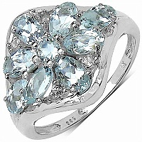 1.78CTW Genuine Aquamarine & White Topaz .925 Sterling Silve