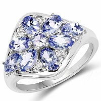 2.18CTW Genuine Tanzanite & White Topaz .925 Sterling Silver Ri