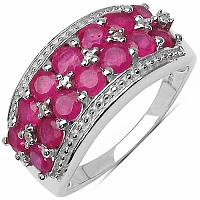 2.00CTW Genuine Glass Filled Ruby .925 Sterling Silver Ring