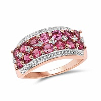 1.86CTW Genuine Rhodolite & White Topaz 14K Rose Gold Plated .9
