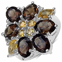 7.90CTW Genuine Smoky Topaz & Citrine .925 Sterling Silver R