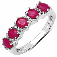 1.28CTW Glass Filled Ruby & White Topaz .925 Sterling Silver