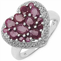2.30CTW Genuine Ruby .925 Sterling Silver Heart Shape Ring