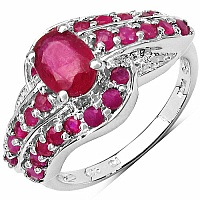 2.04CTW Glass Filled Ruby & Ruby .925 Sterling Silver Ring