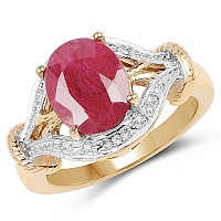 3.26CTW Genuine Ruby & White Topaz .925 Sterling Silver Gold Pl
