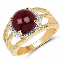 5.48CTW Genuine Ruby .925 Sterling Silver Gold Plated Ring