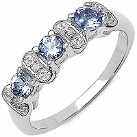0.59CTW Genuine Tanzanite & White Diamond .925 Sterling Silv