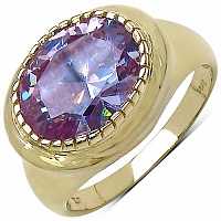 6.30CTW Purple Cubic Zirconia 14K Yellow Gold Plated Brass Ring