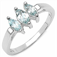 1.35CTW Genuine Blue Topaz .925 Sterling Silver Ring