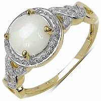 1.25CTW Genuine Opal 14K Yellow Gold Plated .925 Sterling Si