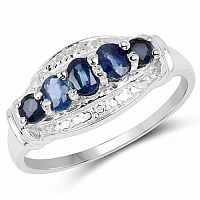 1.13CTW Genuine Blue Sapphire .925 Sterling Silver Ring