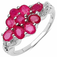 2.22CTW Genuine Glass Filled Ruby .925 Sterling Silver Ring