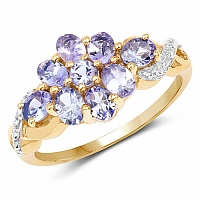 1.38CTW Genuine Tanzanite 14K Yellow Gold Plated .925 Sterling